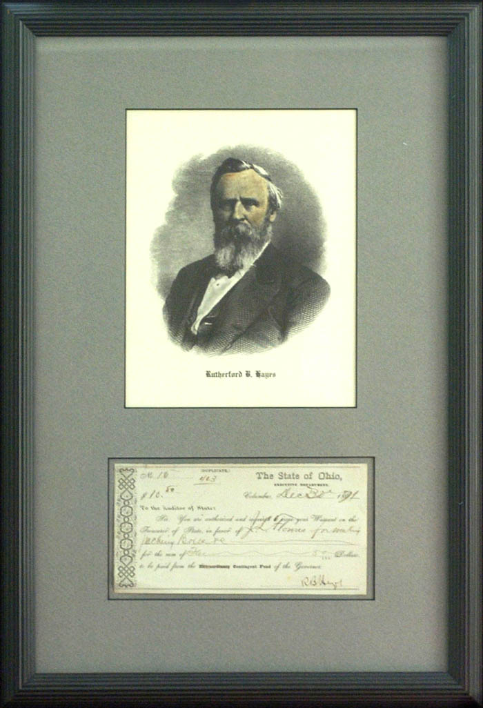 Rutherford B. Hayes Autograghed Document